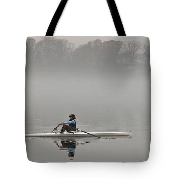 Rowing Into Morning Fog Tote Bag by Gary Slawsky