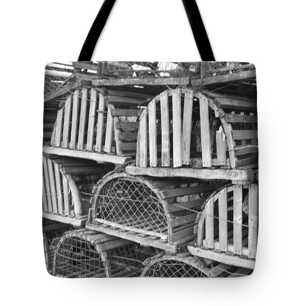Rows Of Old And Abandoned Lobster Traps Tote Bag by John Telfer