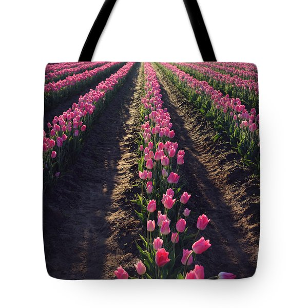 Tote Bag featuring the photograph Rows Of Pink by Sylvia Cook