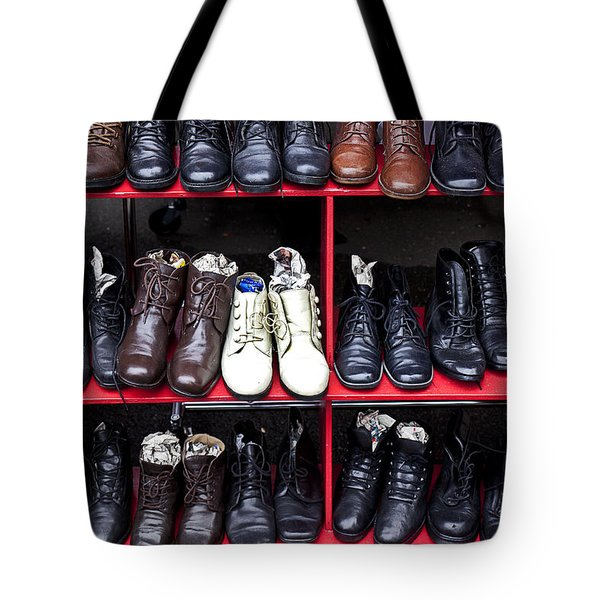 Rows Of Shoes Tote Bag by Garry Gay