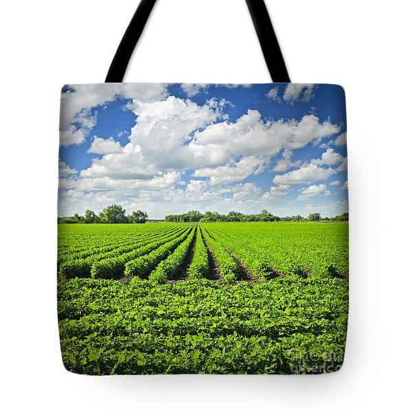 Rows Of Soy Plants In Field Tote Bag