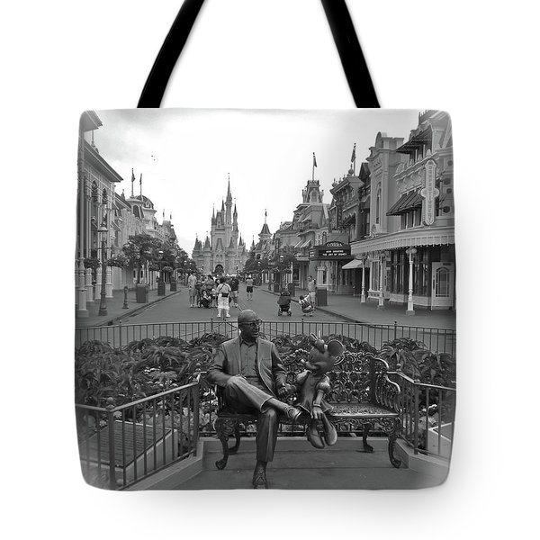Roy And Minnie Mouse Black And White Magic Kingdom Walt Disney World Tote Bag by Thomas Woolworth