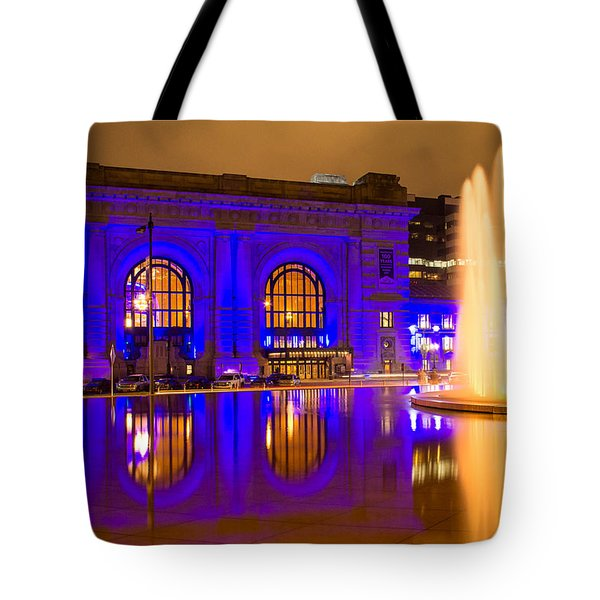 Royal Blue Reflections Union Station Tote Bag by Steven Bateson