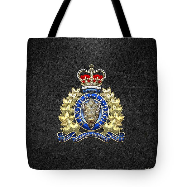 Royal Canadian Mounted Police - Rcmp Badge On Black Leather Tote Bag