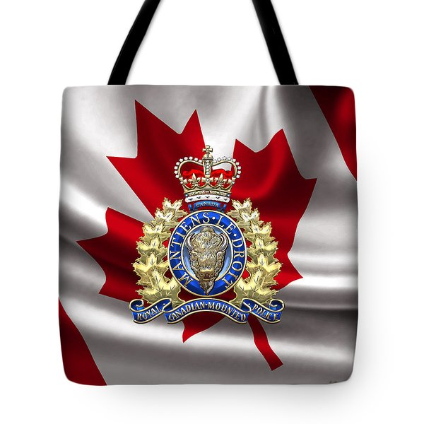 Royal Canadian Mounted Police - Rcmp Badge Over Waving Flag Tote Bag
