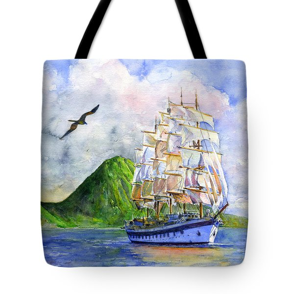 Royal Clipper Leaving St. Lucia Tote Bag