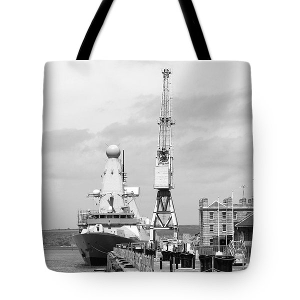 Royal Navy Docks And Hms Defender Tote Bag