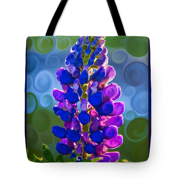 Royal Purple Lupine Flower Abstract Art Tote Bag