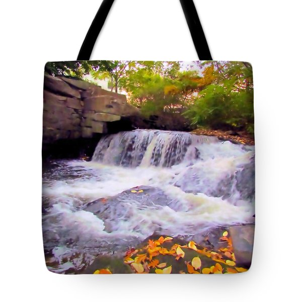 Royal River White Waterfall Tote Bag