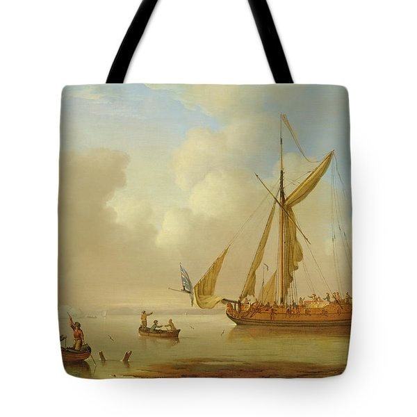 Royal Yacht Becalmed At Anchor Tote Bag by  Peter Monamy