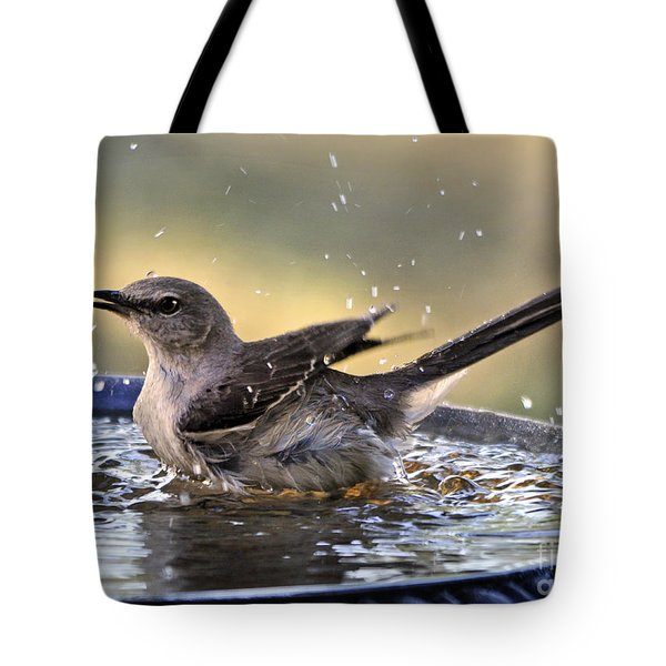 Tote Bag featuring the photograph Rub-a-dub-dub Mockingbird by Nava Thompson