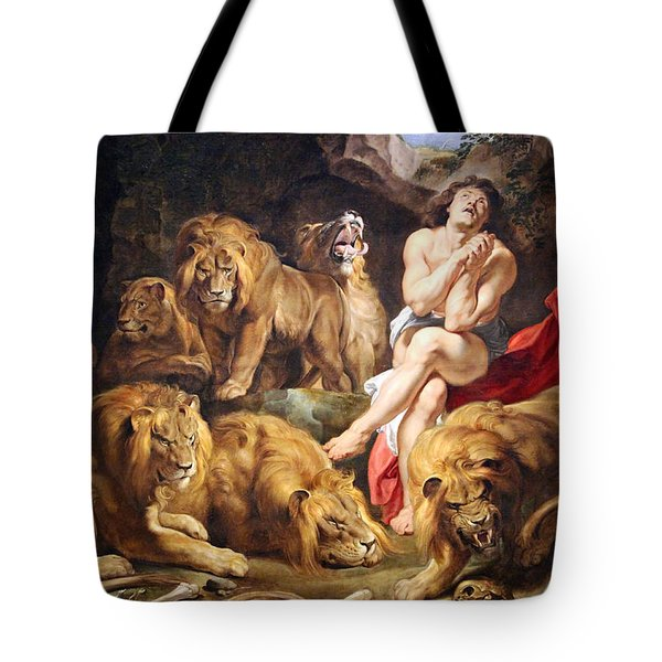 Tote Bag featuring the photograph Rubens' Daniel In The Lions' Den by Cora Wandel