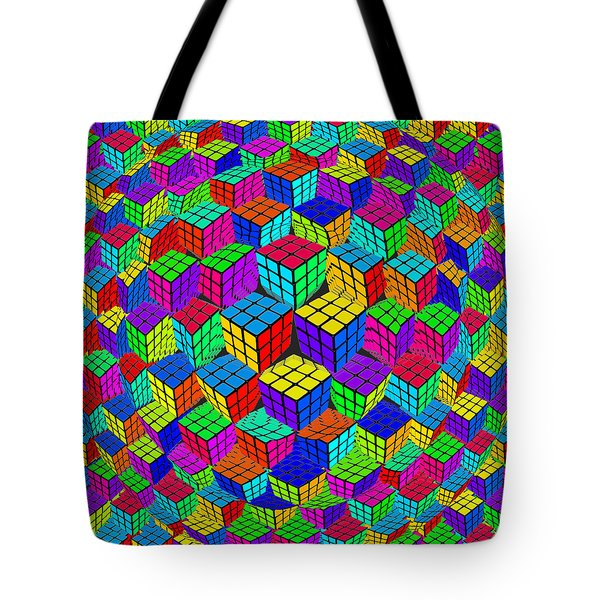Rubik's Cube Abstract Perspective Tote Bag