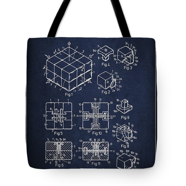 Rubiks Cube Patent Tote Bag by Aged Pixel