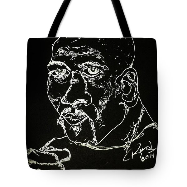 Tote Bag featuring the drawing Rubin Hurricane Carter by Rand Swift