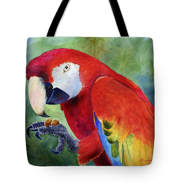 Tote Bag featuring the painting Ruby Having Lunch by Roger Rockefeller