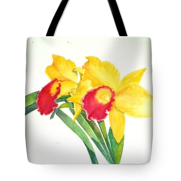 Ruby Kissed Orchids Tote Bag