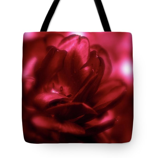 Ruby Red  Dahlia With Bokeh Tote Bag