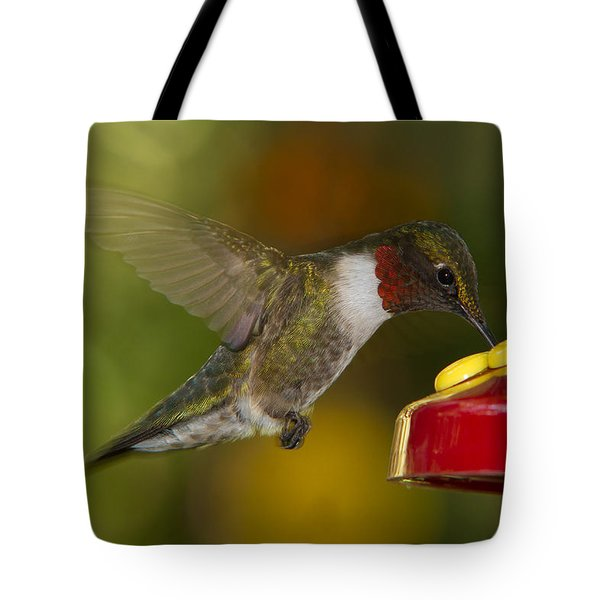 Ruby-throat Hummer Sipping Tote Bag