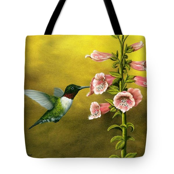 Ruby Throated Hummingbird And Foxglove Tote Bag by Rick Bainbridge