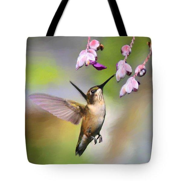 Ruby-throated Hummingbird - Digital Art Tote Bag by Travis Truelove
