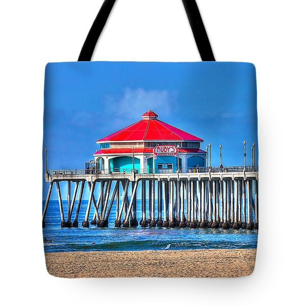 Ruby's Surf City Diner - Huntington Beach Pier Tote Bag