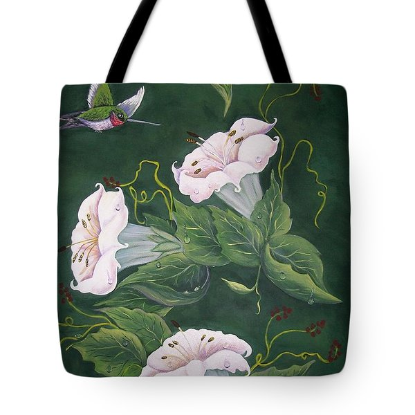 Tote Bag featuring the painting Hummingbird And Lilies by Sharon Duguay