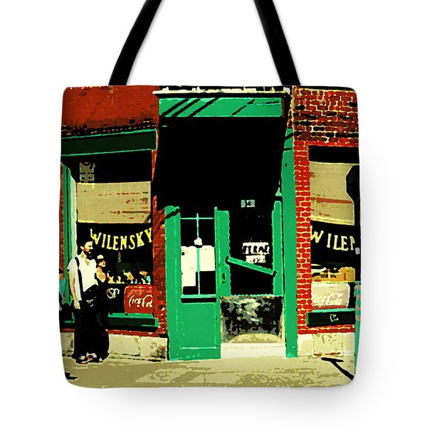 Rue Fairmount Wilensky Diner Cafe Feeding The Parking Meter Montreal Street Scene Carole Spandau Tote Bag by Carole Spandau