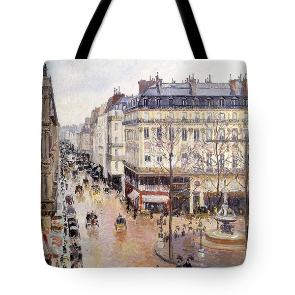 Rue Saint Honore Afternoon Rain Effect Tote Bag by Camille Pissarro