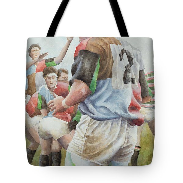 Rugby Match Harlequins V Northampton, Brian Moore At The Line Out, 1992 Wc Tote Bag
