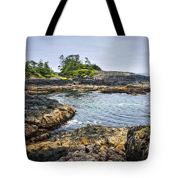 Rugged Coast Of Pacific Ocean On Vancouver Island Tote Bag by Elena Elisseeva