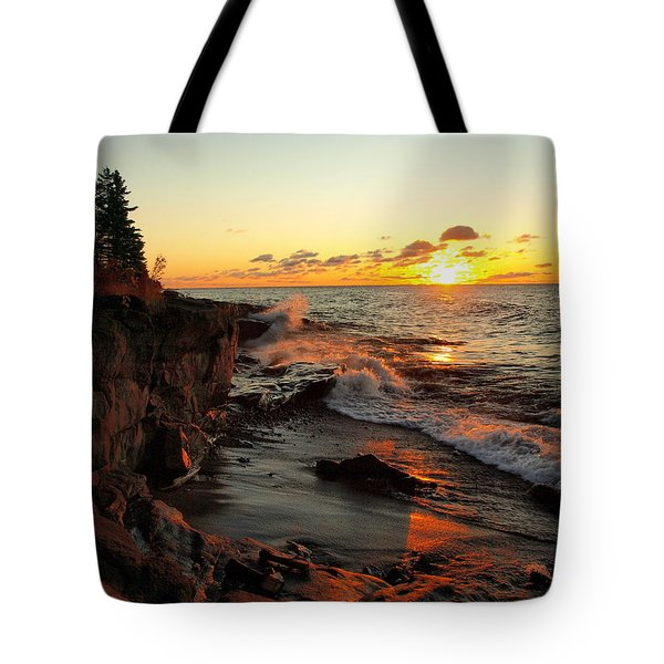 Tote Bag featuring the photograph Rugged Shore Fall by James Peterson