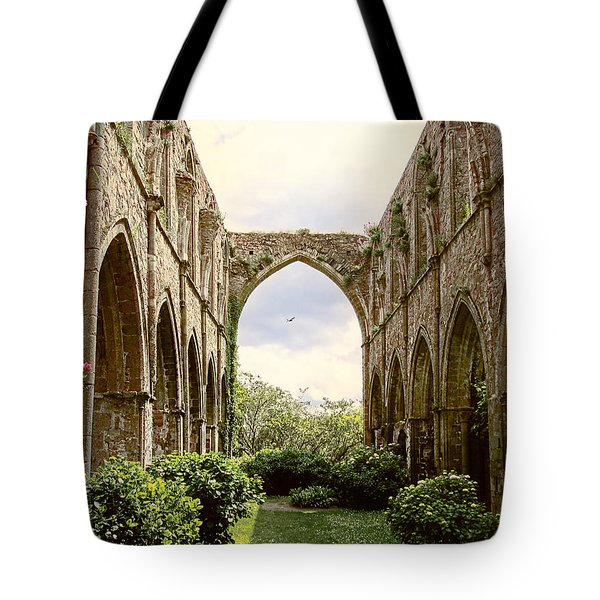 Tote Bag featuring the photograph Ruins Abbaye De Beauport Paimpol Bretagne by Menega Sabidussi
