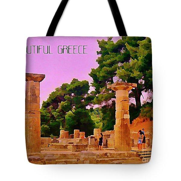 Ruins At Olympus Greece Tote Bag by John Malone