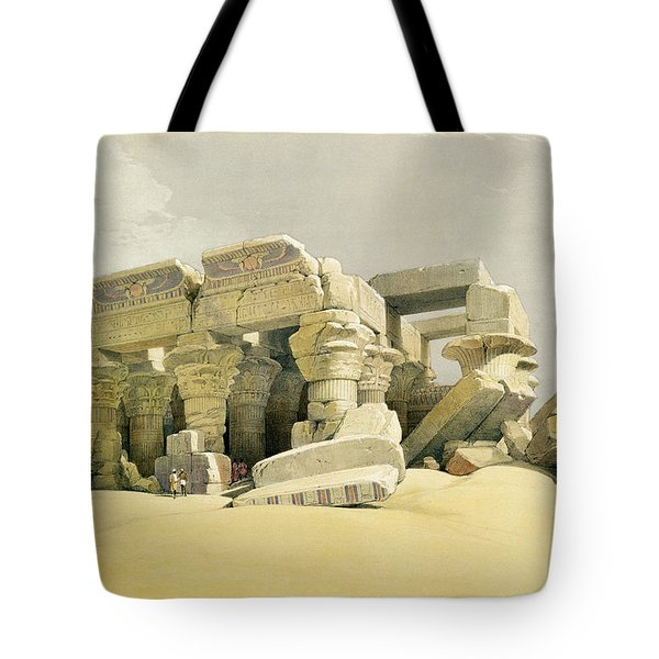 Ruins Of The Temple Of Kom Ombo Tote Bag by David Roberts