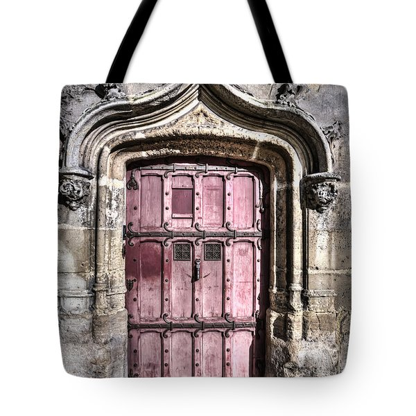 Ruins With Red Door Tote Bag