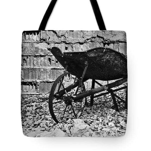 Run-down Wheelbarrow Tote Bag by Christine Till