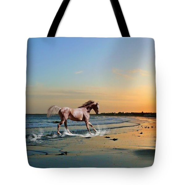 Tote Bag featuring the mixed media Run Like The Wind by Morag Bates
