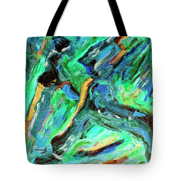 Tote Bag featuring the painting Runners by Dominic Piperata