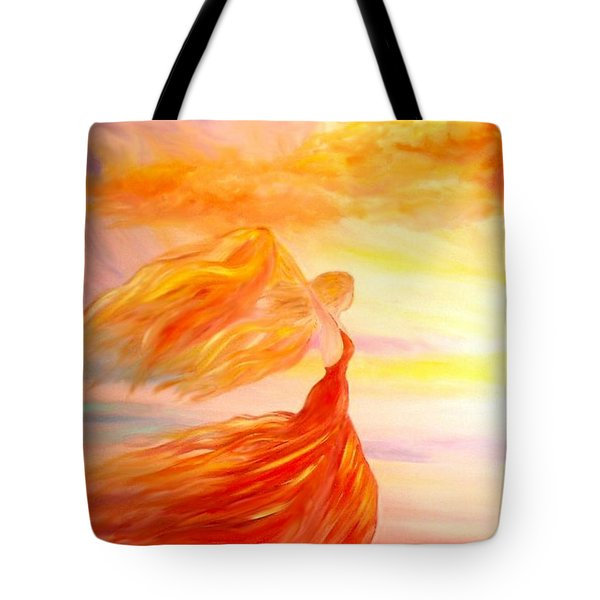 Tote Bag featuring the painting Running Along The Beach by Lilia D