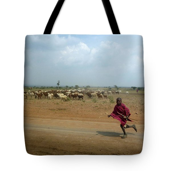 Running Boy Tote Bag