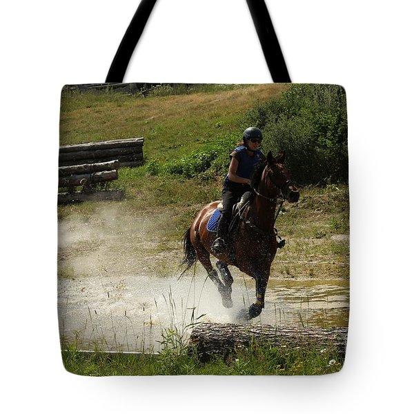 Running Thru Water  Tote Bag