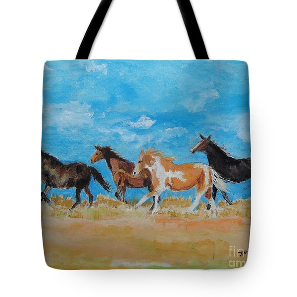 Tote Bag featuring the painting Running Wild by Judy Kay