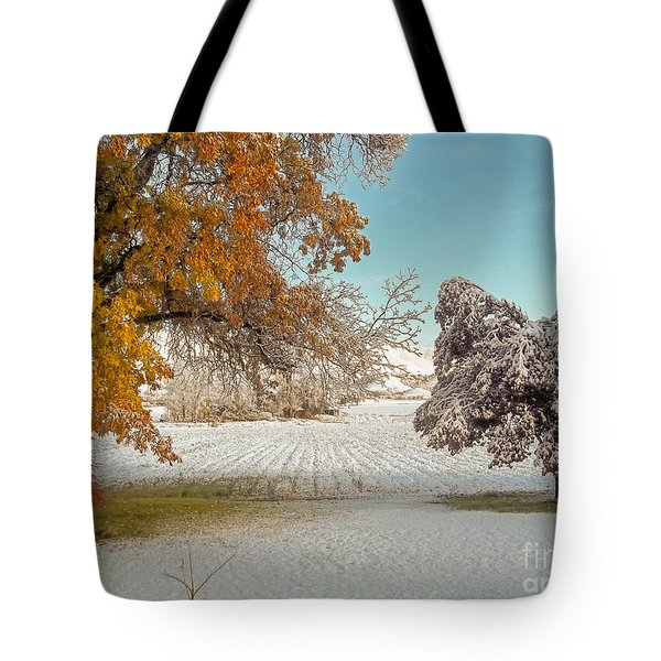 Rural Early Snow In Western Colorado  Tote Bag