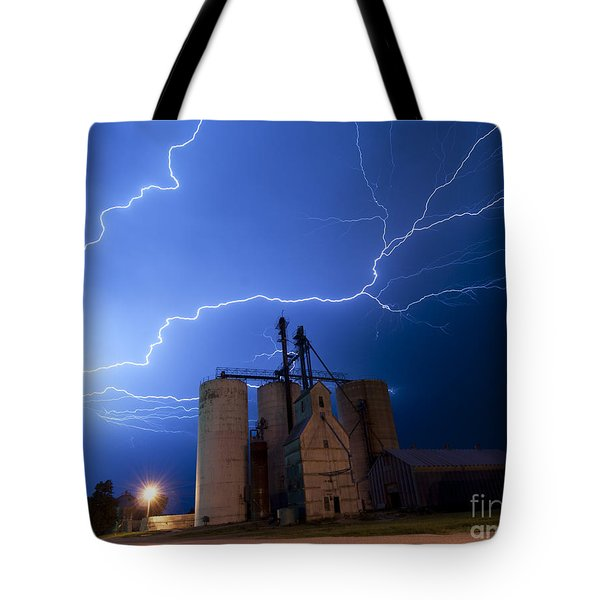 Rural Lightning Storm Tote Bag