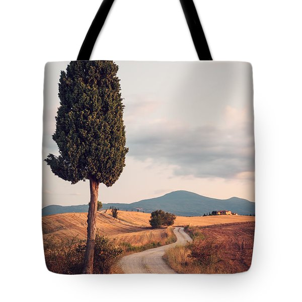 Rural Road With Cypress Tree In Tuscany Italy Tote Bag by Matteo Colombo