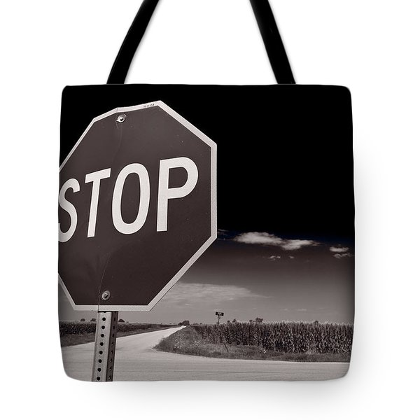 Rural Stop Sign Bw Tote Bag by Steve Gadomski
