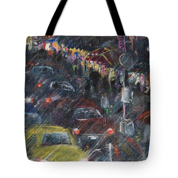 Rush Hour Rain  Tote Bag