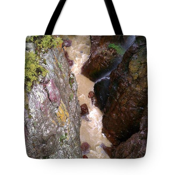 Tote Bag featuring the photograph Rushing Crevasse by Fortunate Findings Shirley Dickerson