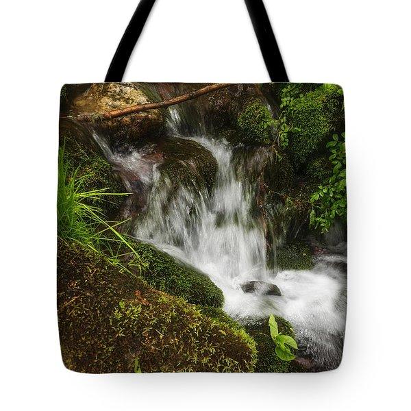 Rushing Mountain Stream And Moss Tote Bag